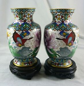 WONDERFUL VINTAGE HEAVILY DECORATED PAIR OF CLOISONNE VASES ON STANDS C 1950'S
