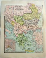 Original 1902 Map of Turkey in Europe by Dodd Mead. Balkans Serbia Greece