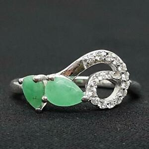 World Class 1.20ctw Colombian Emerald & Diamond Cut White Sapphire 925 Ring SZ 7