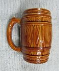 Vintage brown stoneware pottery primitive country beer barrel stave mug FREE S/H