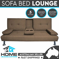 3 Seater Sofa Bed Brown Fabric Recliner Lounge Modular Couch Futon w/ Cup Holder