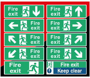 Fire Exit Sign Sticker  Emergency Escape Fire Drill Safety Self Adhesive Sticker