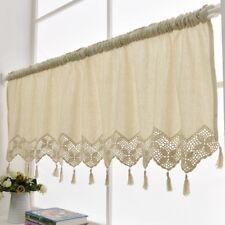 Handmade Kitchen Curtain Cotton Linen Window Curtain Valance Tassel Panel Decor