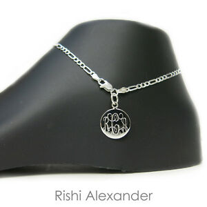 925 Sterling Silver 3mm Figaro Monogram Personalized Anklet
