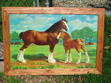 Very Rare Budweiser Litho: Clydsdale Mare And Foal - Custom Burnished Frame