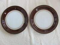 Denby/Langley - Cognac Dark Brown Rim -Made in England - Set of 2 Salad Plates