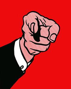 Finger Pointing - A1+ Roy Lichtenstein High Quality Canvas Art Print