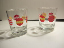 Two Highball Glasses Decorated with Christmas Balls.