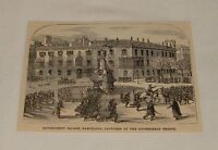 1879 small magazine engraving ~ GOVERNMENT SQUARE, Barcelona, Spain