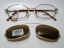 New Mens Metal Eyeglass Frame Timex T003  w/Clip on Sunglass DEMIAMBER 49-18-135