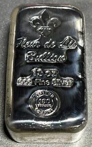 10 OZ Cast-Poured .999 Argent Fin Barre - Fleur de Lis Lingot