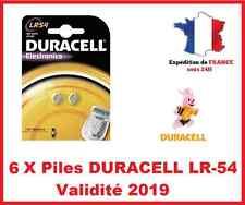 6 X Batteria LR-54 / AG10 DURACELL Pulsante Alcalino 1, 5V DLC 2019