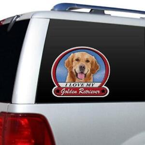 I Love My Golden Retriever Dog Picture Large Window Film Car Truck Decal Sticker