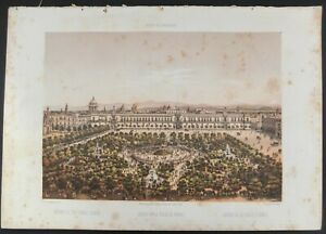"1855 Casimiro Castro Hand Colored Lithograph ""Garden In The Public Square"""
