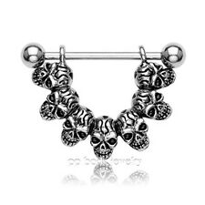 """1pc. 14g-7/8"""" - """"Lucky 7"""" Skull Link 316l Surgical Steel Barbell Nipple Shield"""
