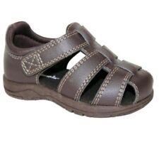 GARANIMALS Infant Toddler Boy Brown Leather Fisherman Sandals Size 6 Velcro stra