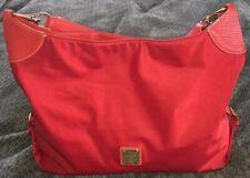 DOONEY & BOURKE XL Red Nylon/Leather Hobo Handbag Purse Bag-VERY NICE