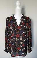 Anthropologie Violet + Claire Womens Top Medium Black Floral Long Sleeve Blouse