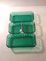 4 pc Emerald Diamond Cut Green Glass By Arcoroc Serving Dishes Made in France ..