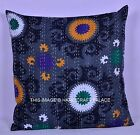 "24"" GREY SUZANI PRINT KANTHA PILLOW CUSHION COVER THROW Ethnic Decorative Indian"
