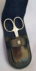 """NEW Nail Sissors - J. A. Henckels Zwilling w/ Leather Case - Never Used - 3-1/2"""""""