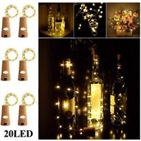 20 LED Light String Battery Copper Wine Bottle Wire Fairy Lights Party Xmas Gift