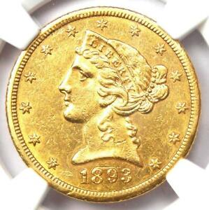 1893-CC Liberty Gold Half Eagle $5 Coin - NGC Uncirculated Details (UNC MS)
