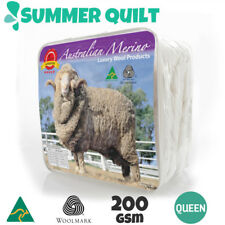 Queen Size AUS MADE 100% Merino Wool Summer Quilt 200 GSM Doona Duvet Blanket