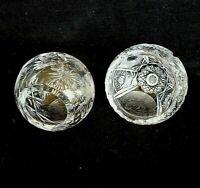 Vtg Cut Crystal Sphere Orb Round Bowl Cigar/Cigarette Ashtray Holder Lot of 2