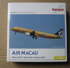 Air Macau plane model Herpa 1:400 East Asian Games 2005 in box Airbus A321 1/400