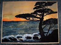 VINTAGE MONTEREY CYPRESS TREES BIG SUR CALIFORNIA COAST OCEAN FOLK ART PAINTING