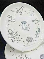 "3 Vintage 1950's 9.25"" BBQ Grill Ceramic Plates Retro Picnic Patio Graphics"