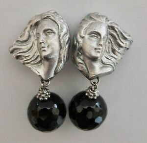 Natalie Baroni Sterling Silver Goddess Collection Clip Earrings With Black Onyx