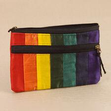 Rainbow Striped Purse Wallet Phone Passport Case 2 Zip Pockets Fake Silk Large