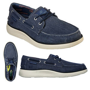 Skechers Mens Status 2.0 Lorano Memory Foam Vintage Washed Canvas Boat Shoes