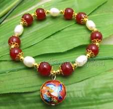 Big 10mm Red Round Jade and White Rice Pearl Bracelet & Cloisonne pendant-bra396