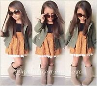 2PCS Kids Baby Girls Toddler Long-sleeved coat+dress  Clothes Outfits