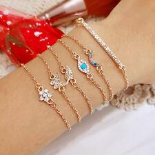 6 Pcs/Set Women Rainbow Crystal Butterfly Flower Eye Tiny Bracelets Bangle Shan