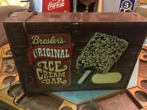 Vintage Bresler's Ice Cream Bar Light Up Sign GAS OIL SODA COLA
