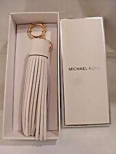 42537ef636 NIB MICHAEL KORS White Leather Tassel Key FOB BAG CHARM 32T6GLXK2L
