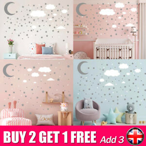 Vinyl Wall Art Stickers Bedroom Moon Star Décor DIY Baby Kids Boy Girl ChildrenL