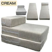 JUMBO Single CHAIR CREAM Sofa Z Bed CORD Seat Foam Fold Out Futon Guest