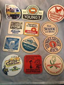 12 Vintage Paper Pub European Beer Advertising Drink Bar Coasters Lot