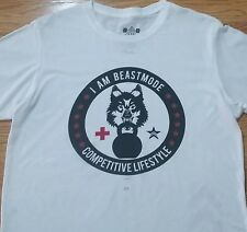 """Beastmode t-shirt (L) White Color - """"I Am BeastMode, Competitive Lifestyle"""""""