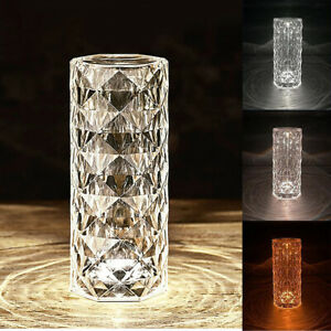 Crystal LED Touch Night Light Bedside Desk Table Lamp USB Dimmable Rechargeable