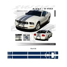 Ford Mustang GT 2005 to 2009 Blue Bumper to Bumper Stripes Graphic Kit
