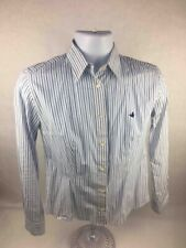 Brooksfield Mens Button-Front Shirt White Blue Stripe Long Sleeve 100% Cotton 44