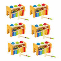 Hape Kids Wooden Musical Instrument Rainbow Pound & Tap Xylophone Bench (6 Pack)