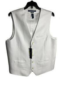 Perry Ellis Mens Vest Bright White Medium Linen Cotton NEW