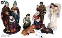 Nativity Set,Baby Jesus, Mary, Joseph, Shepherd, 3 Kings, Cow, Donkey and Sheep